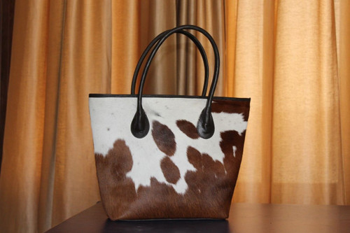 Cowhide Fur Handbag Brown And White Cow Hide Tote Messenger Bags