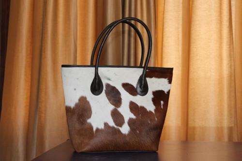 Cowhide Fur Handbag Brown And White Cow Hide Tote Messenger Bags