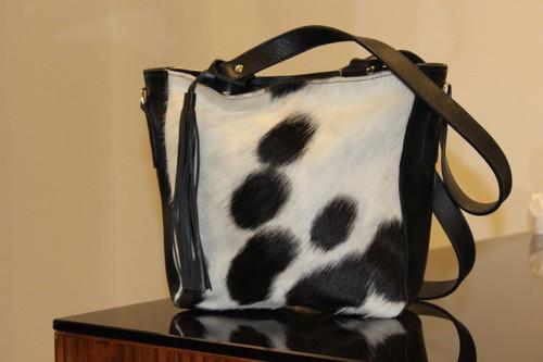 Cowhide Fur Shoulder Bag black white real and natural