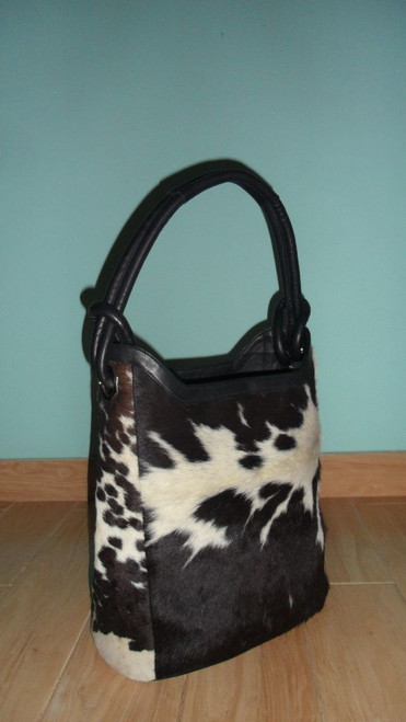 Large cowhide bag bucket bags black and white