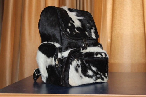 Cowhide Backpack Black And White