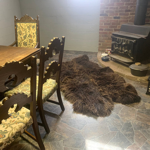 Four Sheep fur rug attached together