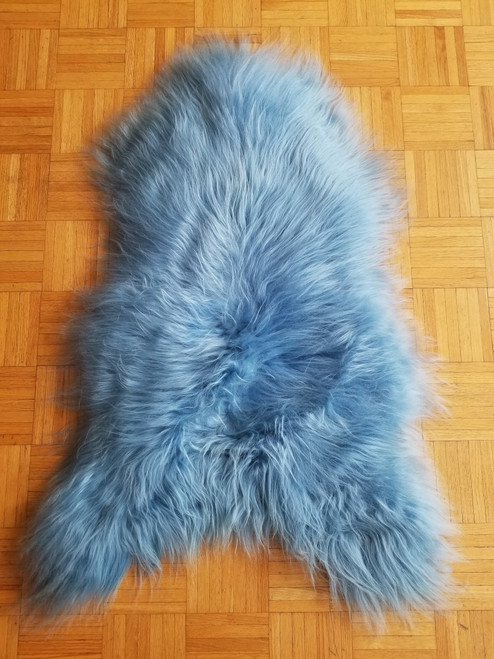 Dyed Blue sheep skin rug