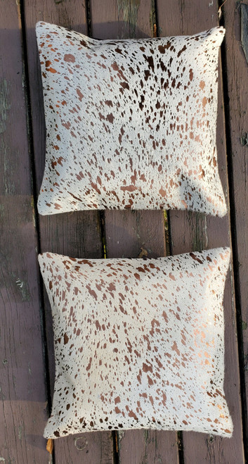 New Metallic Cow hide Cushion Covers 16 X 16 Inches