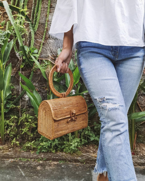 Rattan Cross body Clutch Purse Canada