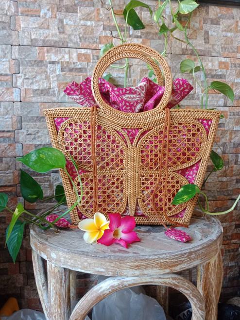 Natural Rattan Shopper Handbag