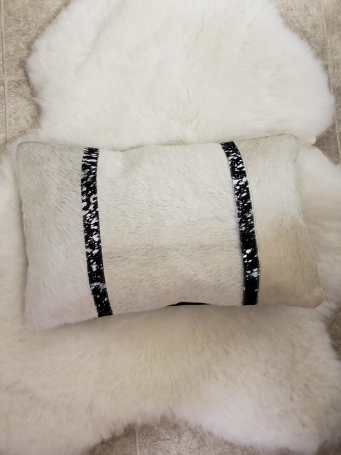 Gorgeous hand crafted rectangle cowhide cushion cover Canada.