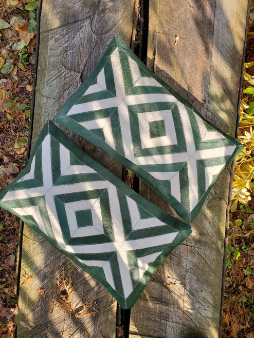 Gorgeous dyed green cowhide pillows canada are great for any space from rustic to neutral.