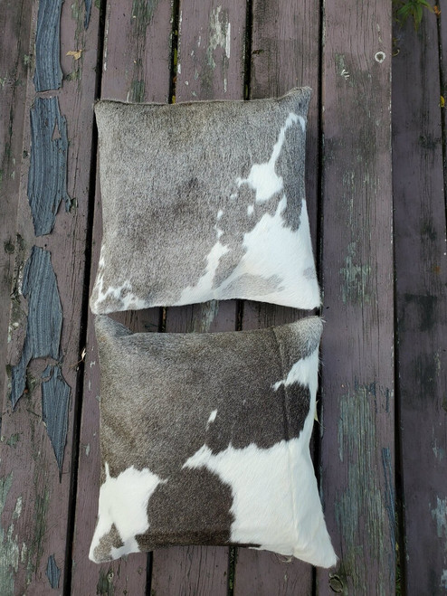 Our new 16 x 16 Grey White are perfect oversize cowhide Pillow