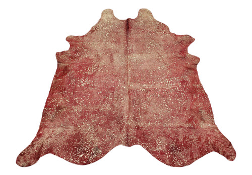 A bold and beautiful gold metallic on red cowhide rug is handcrafted and selected for exotic markings, free shipping Canada, red cowhides are real.