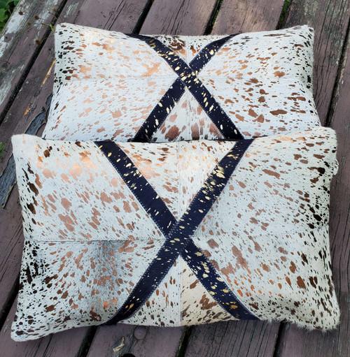 Metallic Gold Blue Cowhide Cushion