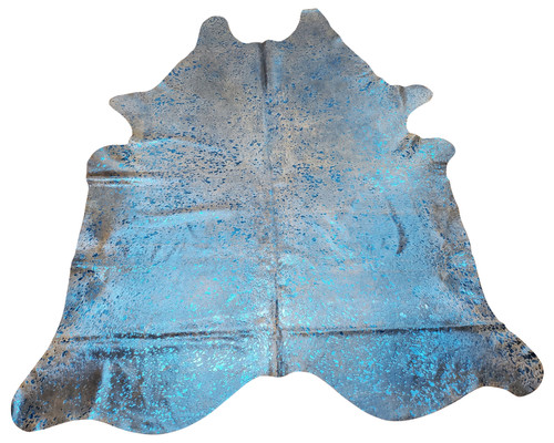 A stunning large cowhide rug in one of a kind blue metallic, very easy to  maintain, perfect for homes with pets since they are hypoallergenic