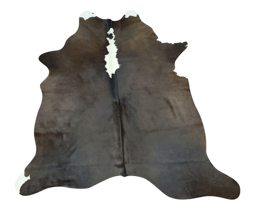Small dark cowhide rug that looks great on the wooden floor it even has a nice brand or stamp, very soft and perfect for kids and pets.