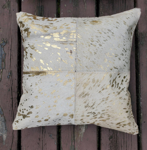 These cowhide metallic pillows are gorgeous, beautiful craftsmanship and it adds so much depth and interest to our space plus quick shipping