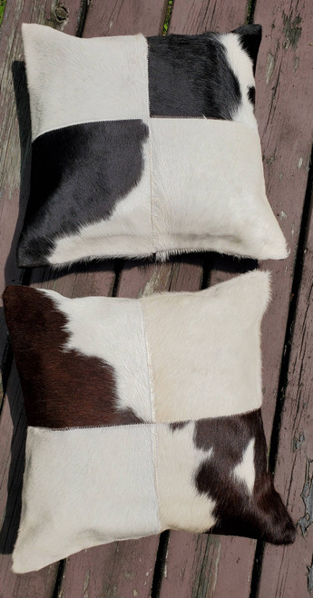 Beautiful cowhide pillows are well made and the fabric is gorgeous. you will definitely purchase more of these black white natural cow hide cushion covers here again.