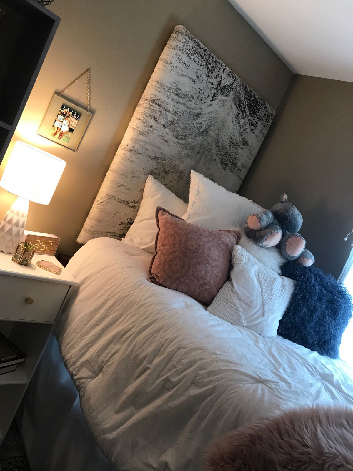 Grey and white cowhide for head boards