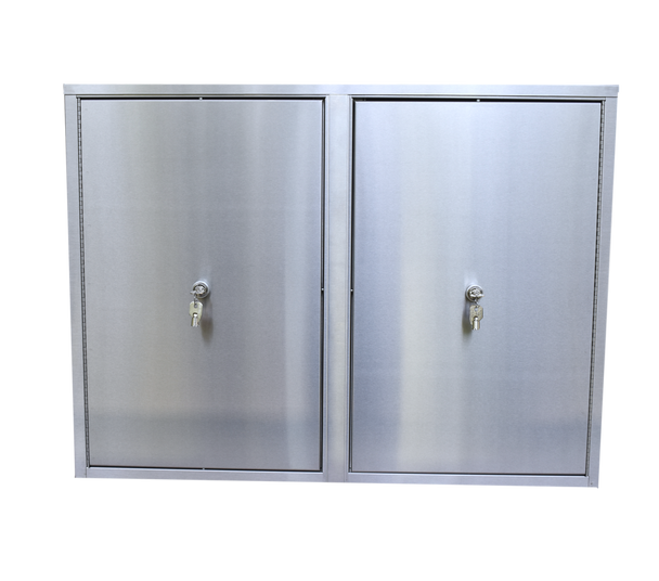 """Large Twin Double Door Narcotic Cabinet with 8 Shelves, 8""""/Deep"""
