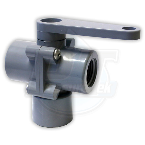 """3 Way Poly Ball Valve 1/2"""" FPT (DISCONTINUED)"""