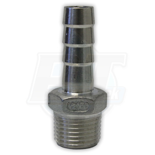 """1/2"""" MPT X 1/2"""" Barb Stainless Steel"""