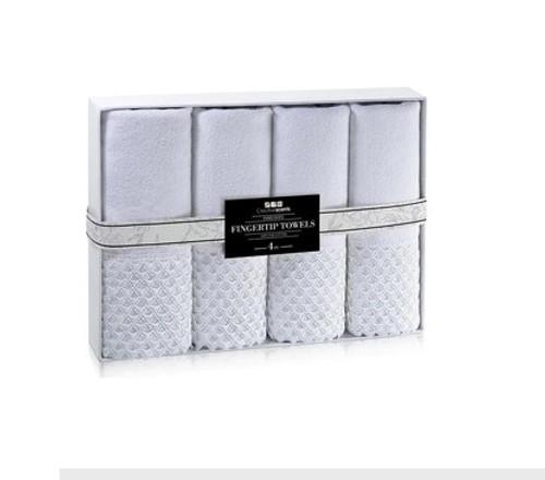 WHITE EMBELLISHED TOWEL SET