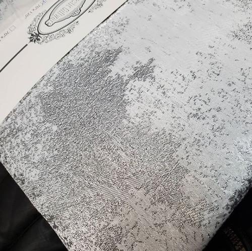 Elegant White Tablecloth with Silver Metallic Marbleized design.