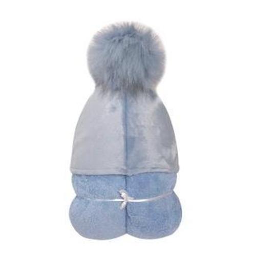 POMPOM HOODED BLUE TOWEL