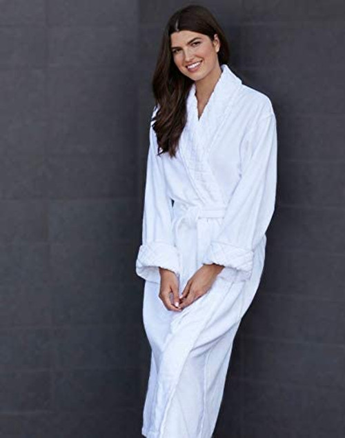 Unisex Elegant Terry Velour Spa Robe with Jacquard Shawl Collar and Cuffs -  ONE SIZE