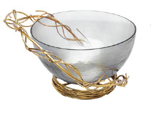 SMOKED GLASS BOWL WITH GOLD TWIG DESIGN