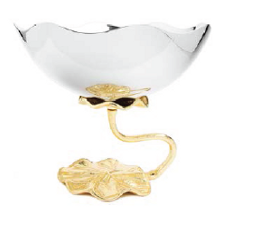 STAINLESS STEEL FOOTED BOWL WITH GOLD LOTUS FLOWER