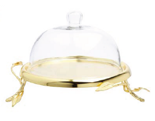 GLASS DOME WITH GOLD LEAF PLATE