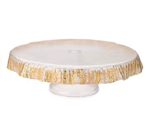 CAKE STAND GOLD SCALLOPED