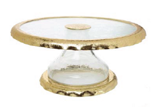 GLASS CAKE STAND WITH GOLD RUFFLE BORDER