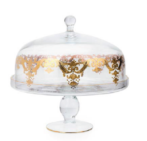FOOTED GLASS CAKE DOME 24K GOLD DESIGN