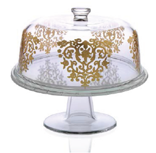 FOOTED GLASS CAKE DOME WITH GOLD DESIGN