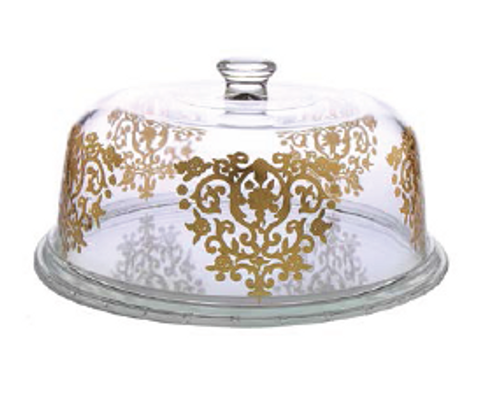 GLASS CAKE DOME WITH GOLD DESIGN