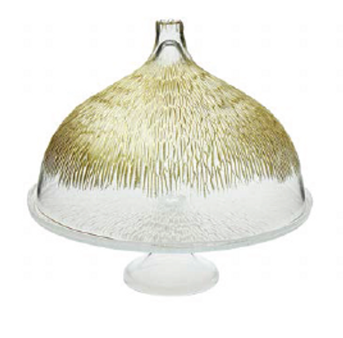 CAKE DOME WITH GOLD DESIGN