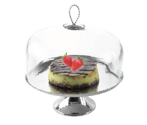 STAINLESS STEEL CAKE STAND WITH GLASS DOME