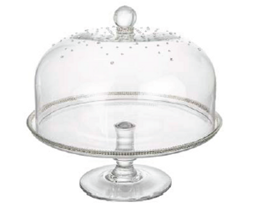 GLASS CAKE DOME WITH SWAROVSKY CRYSTALS