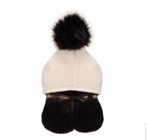 BLACK AND CREAM POMPOM HOODED TOWEL