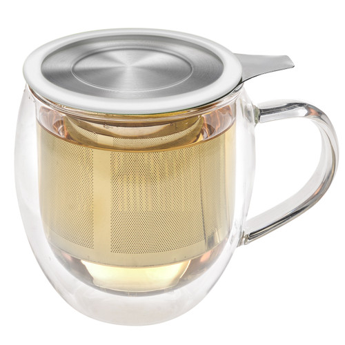 Double Wall Glass Tea Cup with Infuser