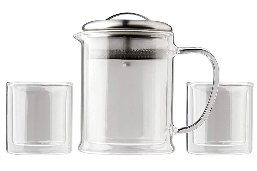 3 Piece Glass Tea Set  - Double Wall