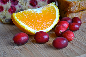 Cranberries and Orange Slice