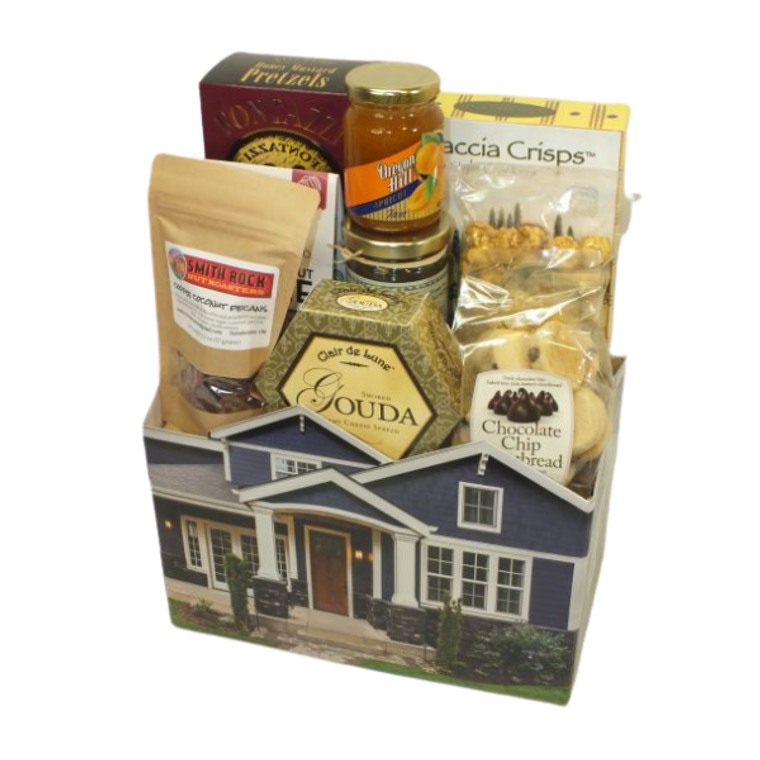 Northwest House Warming Sampler includes Tuscan style crackers, honey mustard pretzels, Holms Made Toffee Co.   White chocolate raspberry toffee, Salted Toffee pecans, gouda cheese, chocolate chip shortbread bites, toffee popcorn, vanilla peach jelly and Oregon Apricot jam.  Designed in american made house theme container.