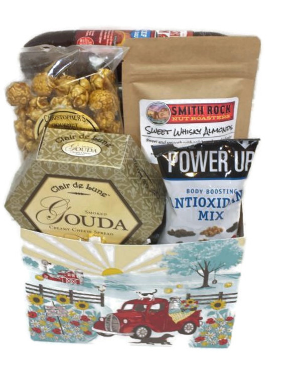 Father's Day Sausage & Cheese Basket includes Three Pepper Crackers, Beef Summer Sausage, Gouda Cheese Spread, Toffee popcorn, Sweet Whisky Almonds, Energy pack of nuts and dried fruit.