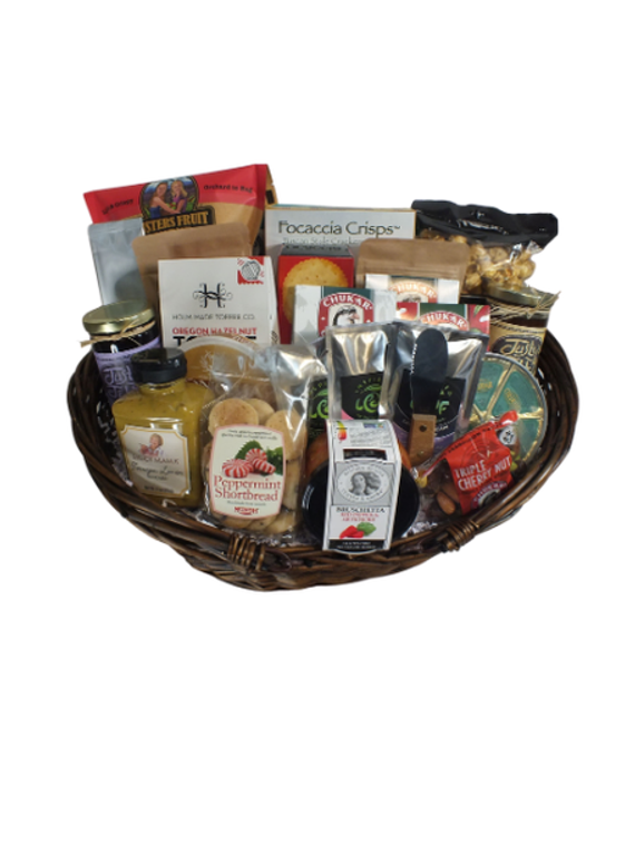 Treat your family, friends, clients or staff to a sampling of cheeses, sausage, Smoked Salmon a variety of Oregon snacks.   Oregon Christmas Sampler includes  Smoked Salmon 8oz., Beef Summer Sausage 90oz., Gouda Cheese, Oregon Salted Pecan Praline, Apple chips,  Foccacia Crackers,  Peppermint Shortbread Bites,  Creamy Brie Cheese Spread, Justy's Jelly - Marionberry jelly, Justys jelly Vanilla Peach jelly, Long Bottom Holiday Coffee 1.5oz bag, Stone Taragon Lemon Mustard, Loose Leaf Tea 2 packages, Parmesan peppercorn Cheese, Ultra Dark chocolate Pecans, Dark Chocolate Vanilla Almonds, White chocolate Snow Cherries cherries, Peppermint Chocolate Toffee, Garlic Herb Crackers, Red pepper artichoke bruchetta, triple cherry nut mix, Smith Rock Nut Roasters Salted pecans, Smith Rock Nut Roasters Sweet Whisky Almonds, Caramel Corn and cheese knife.  Designed in dark stain wicker basket.  Wrapped in Cellophane with handmade bow.