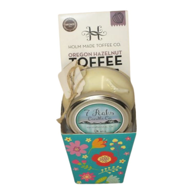 Spring Candle and Toffee includes Holm Made Toffee Co. White Chocolate Raspberry Toffee and 7 Peaks Candle Co. - Island Romance - note of orchid flower, sea salt and jasmine (made locally and burns 25 hours)