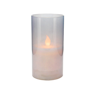 Candle LED in Glass Cup 8x15cmH (12/24)