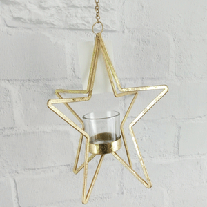 SKU238 3D Star TeaLight Holder - Gold 23.5x21x21cm