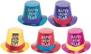 NEW YEAR TOP HAT -FOIL/GLT AST
