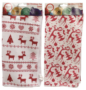 2pk Christmas Tea Towel 30 x 30cm